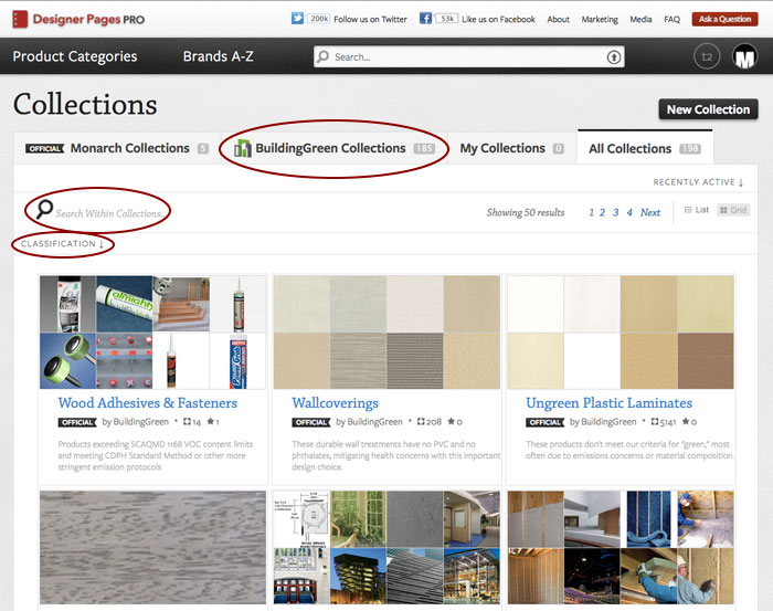 Screen capture of Designer Pages collections page