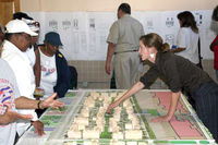 A public meeting where the conceptual designs for the Faubourg Lafitte development in New Orleans were discussed with residents after Hurricane Katrina.
