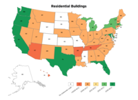 A map of the United States showing six states have adopted the 2018 IECC: Washington, Oregon, California, Florida, Texas, and Delaware.