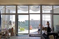 Paris social housing interior, looking outward onto a porch