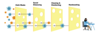 A diagram shows several layers of Swiss cheese allowing fewer and fewer pathogens to pass though each layer.