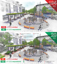 Two designs for a city plaza are contrasted; both contain a large water feature and a concrete sidewalk, but one integrates many more trees and shrubs.
