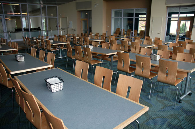 a group of desks in a classroom with Baltix solid surfaces