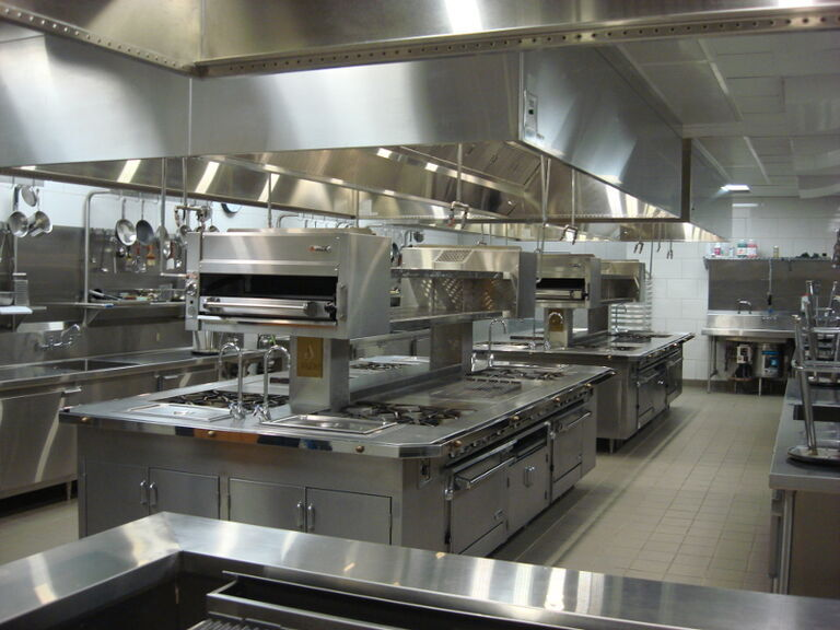 a commercial kitchen with demand-controlled range hood