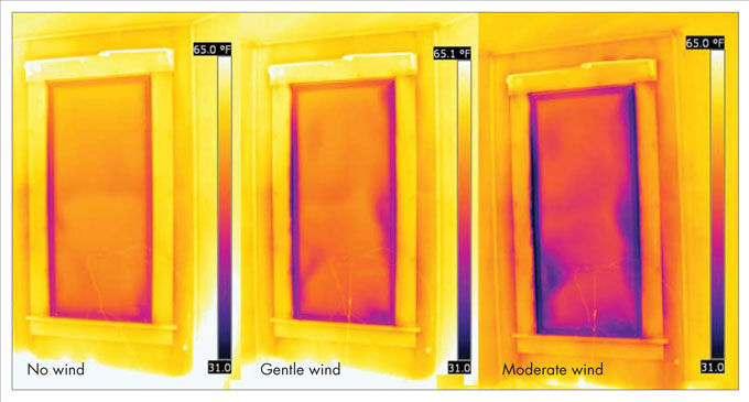 three infrared images of a window