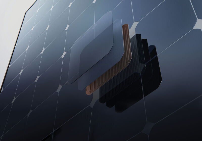 a solar panel showing how one cell is put together