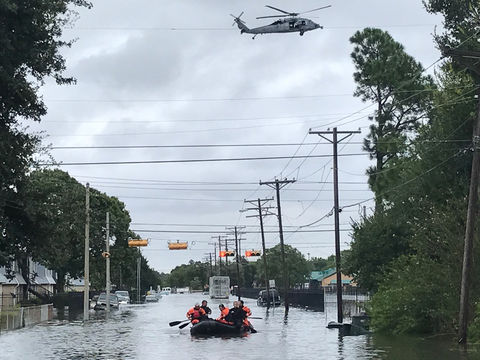 Kentucky Air National Guardsmen conduct water rescue missions in Port Arthur, Texas, in the wake of Hurricane Harvey, looking for people who are trapped in their homes.