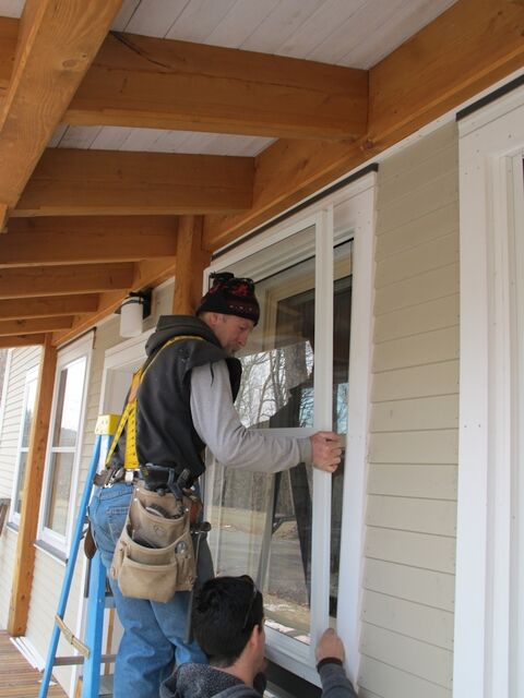 installation of an exterior storm window on a home