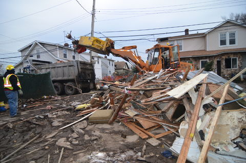 Rising flood waters from Superstorm Sandy decimated hundreds of homes in the Midway Beach area of Staten Island, New York.