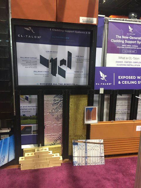 CL-Talon demonstration installation at Greenbuild in Chicago shows the system with mineral wool and Kooltherm insulation along with brick, terra cotta, and stone cladding options.