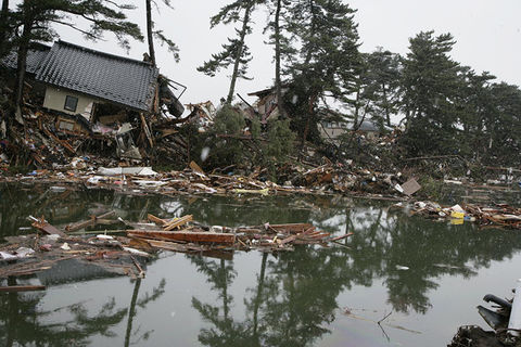 Houses in Higashimatsushima destroyed by the 2011 earthquake and tsunami in Japan.