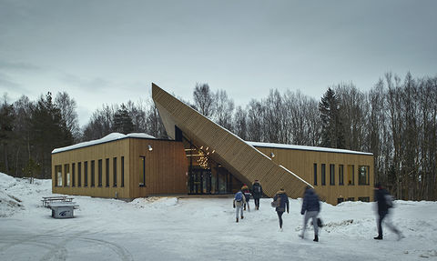 The Drøbak Montessori School in Norway, designed by Snøhetta to meet the requirements of the Powerhouse standard.