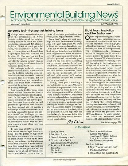 first issue of environmental building news 1992