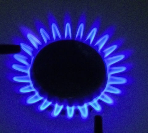flame on a natural gas stovetop