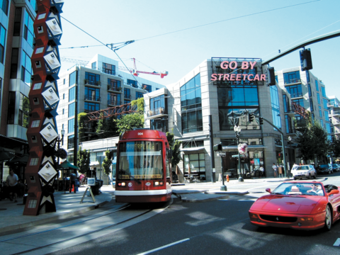 A streetcar in Portland, Oregon