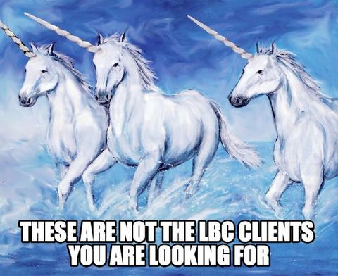 These are not the LBC clients you are looking for (image of unicorns)