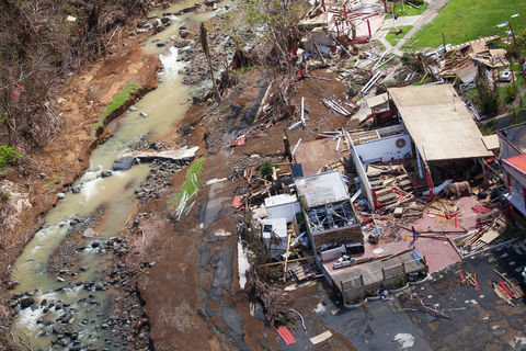 A damaged home in Barranquitas, Puerto Rico, three weeks after Hurricane Maria.