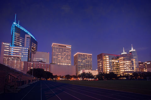 The Texas Medical Center in Houston, at night.