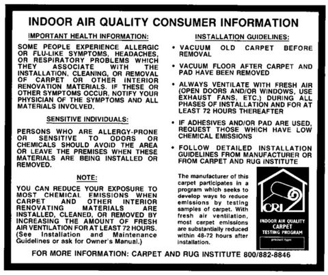 Carpeting, Indoor Air Quality, and the