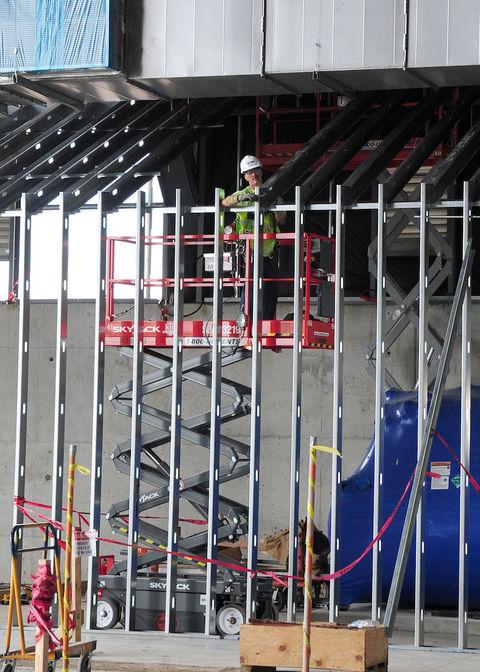 Metal stud construction at U.S. Air Force Museum