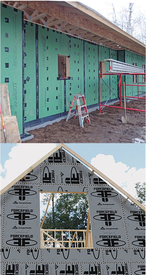 Photos showing Zip sheathing and ForceField sheathing